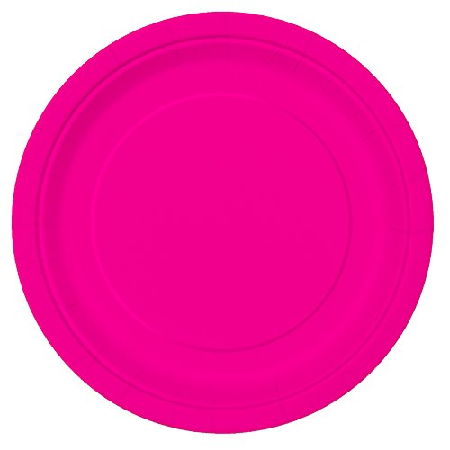 Neon Pink Paper Plates, 16ct