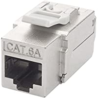 LINKOMM (6 Pack) RJ45 Cat6A 90 degree Shielded STP/FTP Keystone Jack, Metal