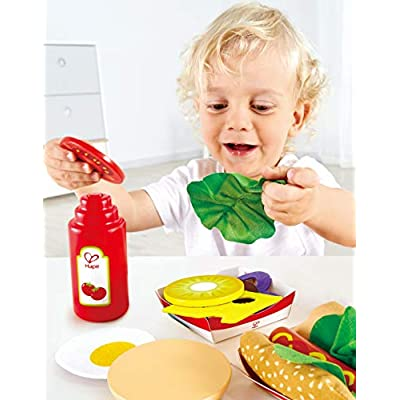 Hape Fast Food Set |Wooden Diner Fast Food Toy Set, Classic American Meal for Pretend Play Includes Burger, French Fries, Hotdogs & Cola: Toys & Games