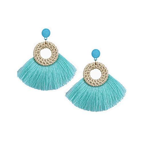 - Gleamfut Women's Round Weaving Rattan Tassel Earrings Bohemian Handmade Dangle Earrings Jewelry