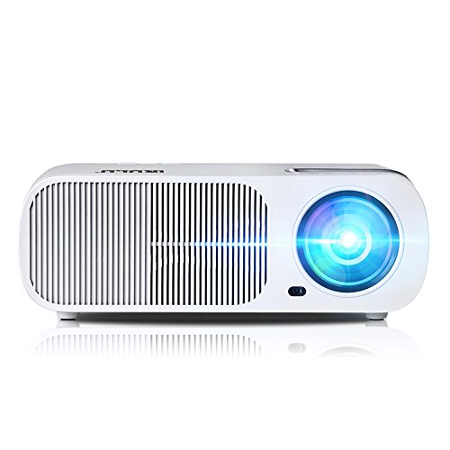 """Video Projector, iRULU Powerful LED Projector Support 1080p Video with HDMI, Full HD Brightness, 200"""" Display for Home Cinema Theater TV Game Computer Smartphone-White"""