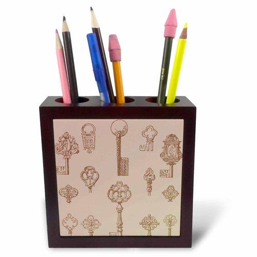 (3dRose ph_110553_1 Vintage Keys Steampunk Odd Art-Tile Pen Holder, 5-Inch)