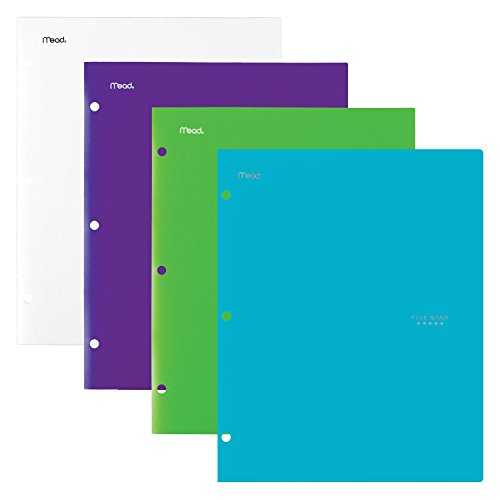 Five Star 4 Pocket Folders, Plastic, Folders with Pockets, Teal, White, Purple, Lime, 4 Pack (38076)