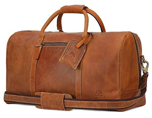Leather Travel Duffel Bag - Airplane Underseat Carry On Bags By Rustic Town (Brown) (Brown Bag Leather Bean)