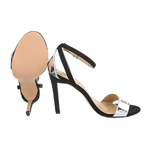 Ital-Design High Heel Sandaletten Damenschuhe High Heel Sandaletten Pfennig-/Stilettoabsatz High Heels Schnalle Sandalen & Sandaletten Schwarz Silber B509YH-PB