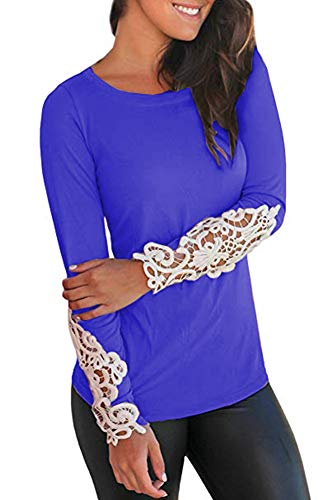 LILBETTER Women's Casual Long Sleeve Round Neck Loose Tunic T Shirt Blouse Tops (Royal Blue, S) ()