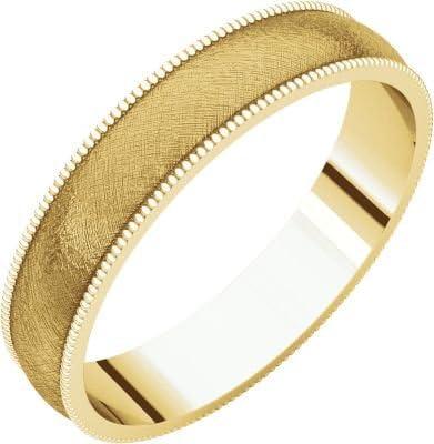 Size 5 Bonyak Jewelry 18k Yellow Gold 4 mm Lightweight Milgrain Band
