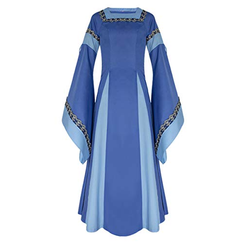 iCos Women Medieval Long One-Piece Royal Dress Renaissance Belle Sleeve Retro Gown Halloween Costume (Small, Blue) ()