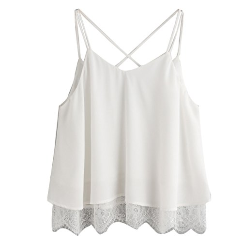men's Summer Basic Sexy Ruffle Lace Sleeveless Racerback Crop Top (White ✤, XL) (Summer Spades)