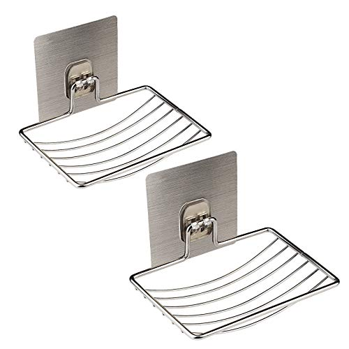 MEZOOM Soap Dish Holder, 2 Pack Self Adhesive Wall Mounted Soap Sponge Holder Stainless Steel Storage Saver Rack for Home kitchen Bathroom Shower