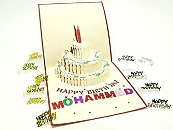 1*3D Cards Handmade Up Greeting Card Happy Birthday Cake Wish For You