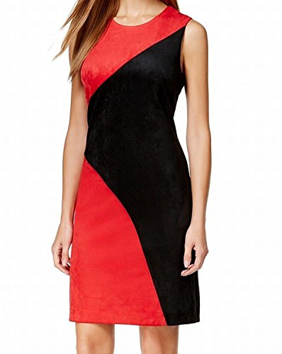 Calvin Klein Womens Colorblock Faux Suede Cocktail Black/Red Dress Sz14