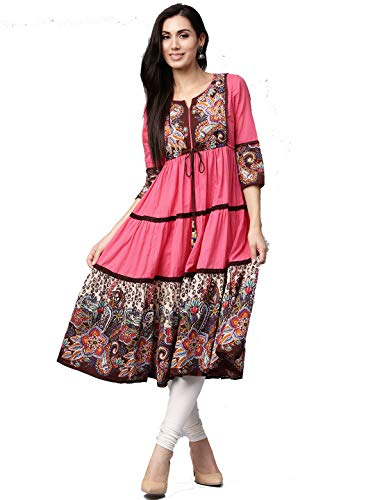 (Dream Angel Fashion Womens Tunic Top to Wear with Leggings Kurta Kurtis Indian Party Wear (Pink, Small))