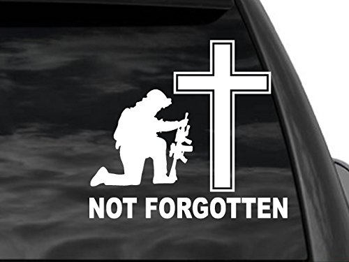 FGD Not Forgotten Kneeling Soldier & Cross Window Decal Sticker in White 8