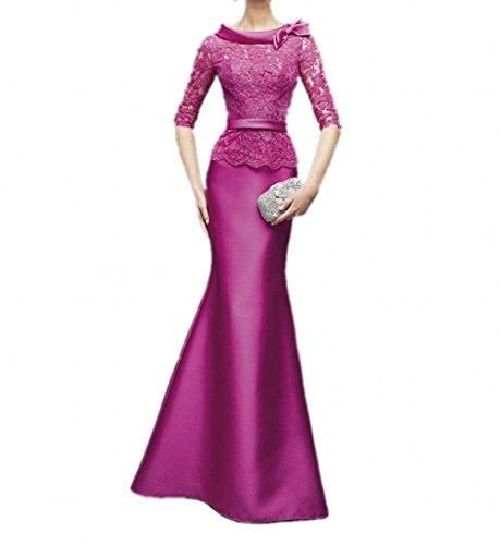 mia Braut Abendkleider Dunkel La Ballkleider Langes Meerjungfrau Fuchsia Spitze Figurbetont Brautmutterkleider Pink Damenrock dqYg5x