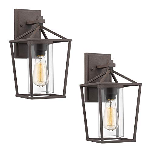 Emliviar Outdoor Wall Lighting Fixtures 2 Pack, Rustic Finish with Clear Glass, 20065B2-2PK ()