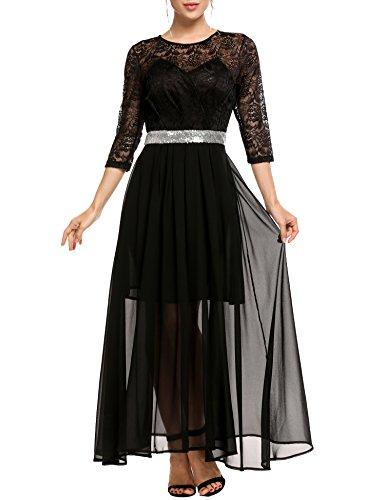 3 4 sleeve black lace dress - 8