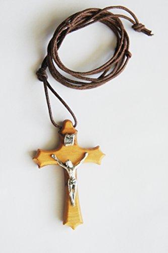 Wood Crucifix Necklace Men Boy Women Girl