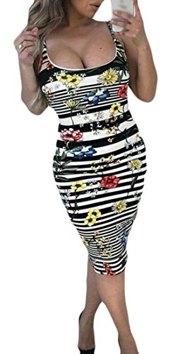 Backless Slim Midi Women's Bodycon Fit Sleeveless Black Floral Domple Stripes Sexy Dress RBqxHR