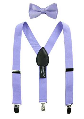 Spring Notion Boys' Suspenders and Solid Color Bowtie Set Dusty Lavender - Kids Big Lavender Apparel