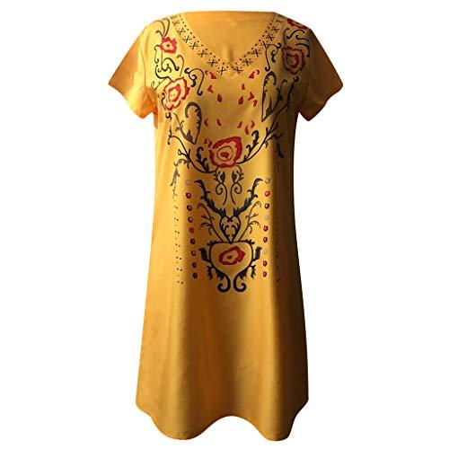 Tantisy ♣↭♣ Women's Vintage V-Neck Short Sleeve Dress