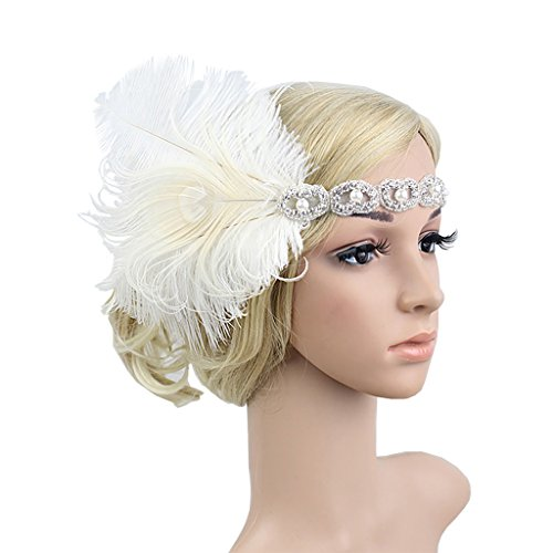 Gatsby Costumes Couple (1920s Headpiece Vintage Feather Great Gatsby Headband Costume Accessories for Women White)
