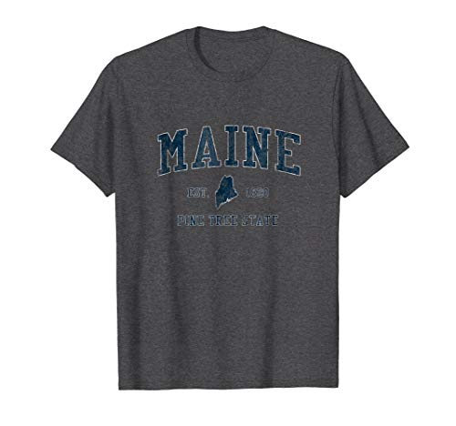 Retro Sport Vintage Tees - Retro Maine T Shirt Vintage State Sports Design Tee