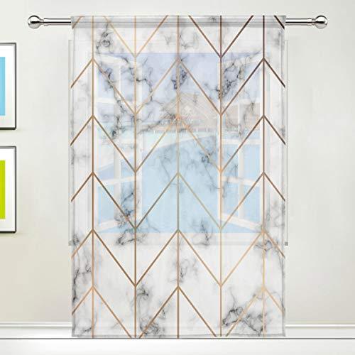 AUUXVA Window Sheer Curtain Geometric Line Golden Marble Panels Drape Kitchen Living Room Decor Bedroom Office Voile Curtain 1 Piece