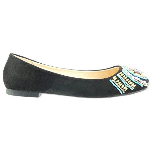 Angkorly - damen Schuhe Ballerina - Slip-On - Schmuck - Perle Blockabsatz 1 CM - Schwarz