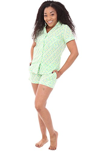 Alexander Del Rossa Womens Woven Cotton Pajama Set with Shorts, Button Down Pjs, 3X Mint Dots (A0550V593X) ()