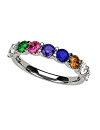NANA U'r Family Ring 1 to 9 Simulated Birthstones in Sterling Silver or Solid 10k Gold