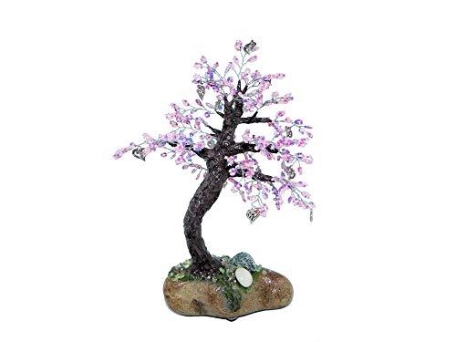 24cm Beaded Cherry Blossom Bonsai with Heart Charms on Rock. Handmade Feng Shui Love Tree. Pink Purple Anniversary Gift Wedding Centerpiece