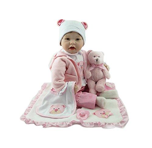 cb0f58d355f602 Amazon   Funny House ドールソフトシリコンビニール22インチ55センチメートル 少年少女の玩具 ピンク色の小熊 磁気口リアルな  新年/誕生日のプレゼント   人形・ ...