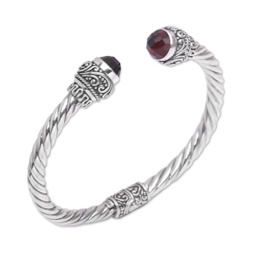 NOVICA Garnet .925 Sterling Silver Cuff Bracelet, Flourish in Red'