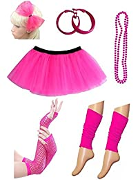 Womens 80s Costume Outfit Accessories -Leg Warmers, Mesh Gloves, Bead Necklace, Hoop Earrings, Hair Bow,