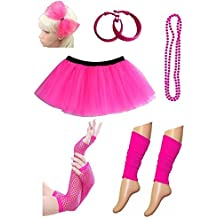 PartyStarz Womens 80s Costume Outfit Accessories -Leg Warmers, Mesh Gloves, Bead Necklace, Hoop Earrings, Hair Bow,