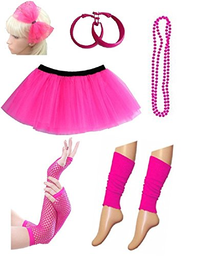 PartyStarz Womens 80s Costume Outfit Accessories - Tutu Skirt, Leg Warmers, Mesh Gloves, Bead Necklace, Hoop Earrings, Hair Bow