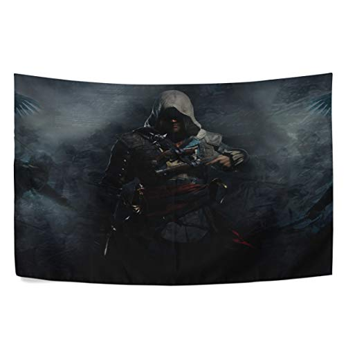 MAXM Assassins Creed Iv Black Flag Edward Kenway Weapons Crows Battle Wall Hanging Tapestry Bedroom Living Room Beach Doorway Curtain Christmas Thanksgiving Day Decoration 60 X 40 -