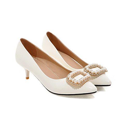 AgooLar Damen Spitz Zehe Mittler Absatz Lackleder Eingelegt Ziehen auf Pumps Schuhe Weiß