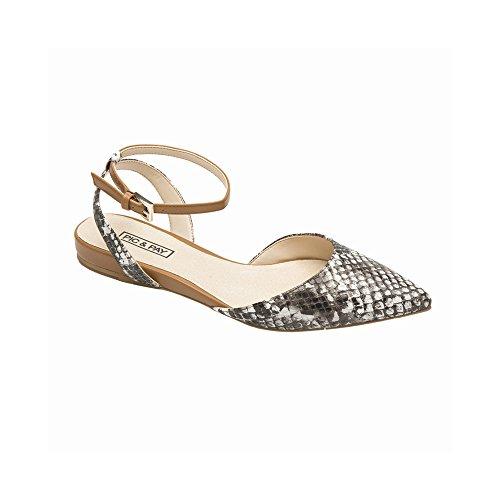 Gray Snake (Pic/Pay Anica Women's Flats - Pointy Toe Flat Black/Gray Snake Print PU 6.5M)