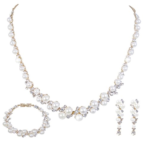 EVER FAITH Simulated Pearl Crystal Bridal Necklace Earrings Bracelet Set Gold-Tone Ivory Color