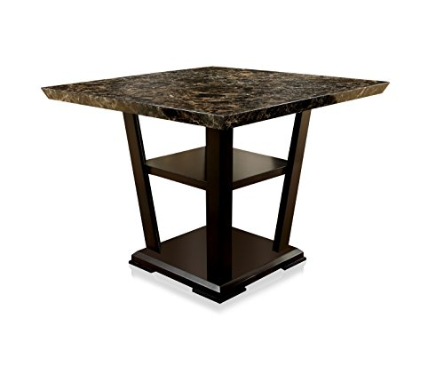 Marble Top Pub Table - Furniture of America Alfaro Modern Faux Marble-Top Pub Dining Table