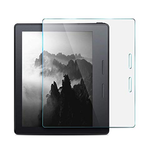 KIQ Kindle Oasis E-Reader Graphite 7.0 Tempered Glass Screen Protector, 9H Tough 0.30mm Scratch-Resist Self-Adhere Easy-to-Install with Cleaning Cloth for Amazon Kindle Oasis 7.0 Graphite