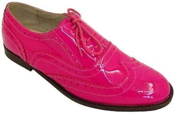 Womens Hot Pink Patent Leather Brogues