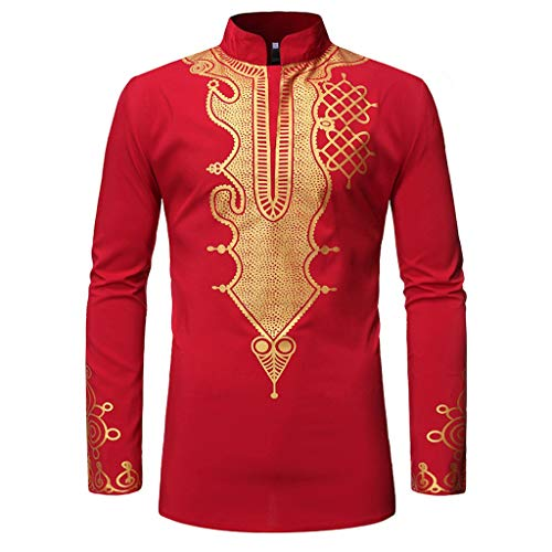 Cotton Shirts for Men African Vintage African Print Printed Long Sleeve V-Neck T-Shirt Top Blouse Red ()
