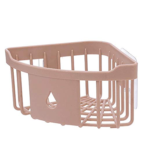 Tcplyn Premium Quality Plastic Kitchen Corner Organizer Shower Basket Bathroom Shelf Bath Kitchen Storage Triangular Rack Wall Corner Organizer for Toilet Decoration Pink