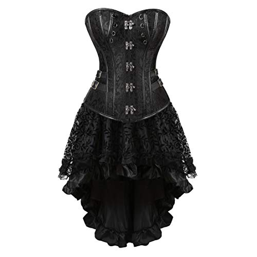 oween Costume Gothic Victorian Corsets Burlesque Dresses Moulin Rouge Black Small ()