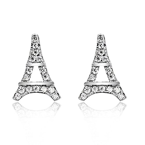 Eiffel Tower Pave CZ 925 Sterling Silver Stud (Eiffel Tower Ring Sterling Silver)