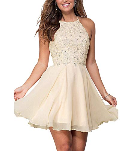Graceprom Women's Halter Lace Homecoming Dresses Backless Beaded Chiffon Formal Short Prom Cocktail Dress 6 Champagne (Beaded Chiffon Shorts)