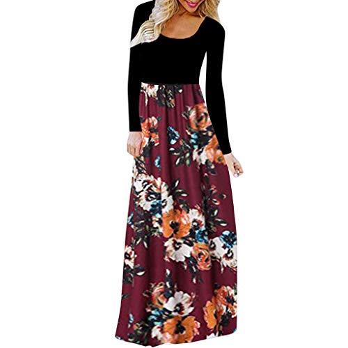 CmmYYrei Women Maxi Dress Long Sleeve Splice Floral Print Plain Maxi Dress Long Dress with Pocket